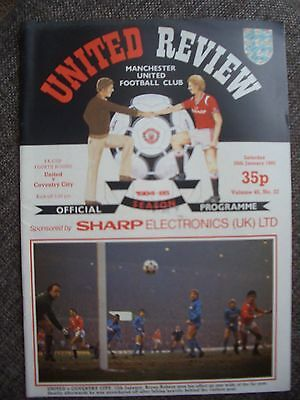 1985....MANCHESTER UNITED v COVENTRY CITY...F.A.Cup Rd 4.....Football Programme