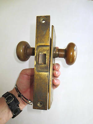 1920s Brass Door Knob Set Plates Lock Craftsman Bungalow Style Mortise Lock Vtg