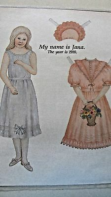 Vintage Jana Of 1910 Paper Doll & Clothes By M. Wright - Uncut - 1989