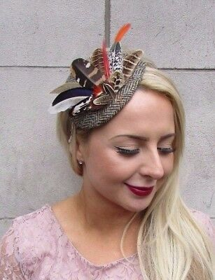 Harris Tweed Orange Brown Pheasant Feather Fascinator Races Headband Vtg 4095