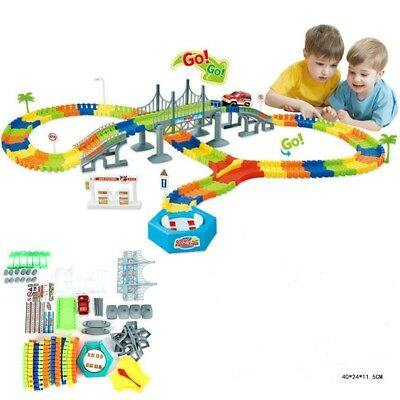 Race Track 192pcs Flashing Magic Toys Set Gift Assembly Car Dark Toy Glow Bend