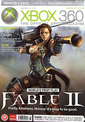 XBOX 360 Official gaming magazine Aug 2008 FABLE II MIRRORS EDGE DARK VOID