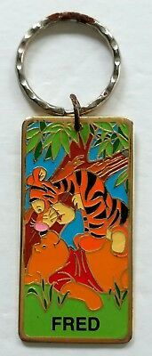 Winnie the Pooh and Tigger Disneyland Fred Personalized Keychain Gold Tone