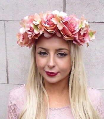 Large Nude Cream Pink Rose Flower Garland Headband Festival Boho Hair Crown 4098