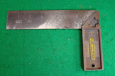 """Vintage Stanley No. 1 All Steel 8"""" Try Square rule tool"""