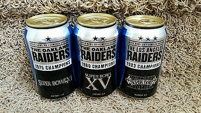 RAIDERS SUPER BOWL 11 15 18 Bud Light beer cans FOOTBALL Rice Stabler Lott RARE