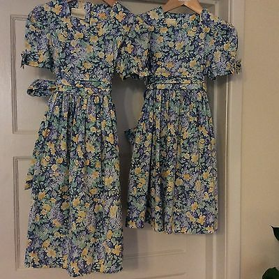 Vintage Laura Ashley girls party dress blue Yellow age 4 &5 (vintage bridesmaid)