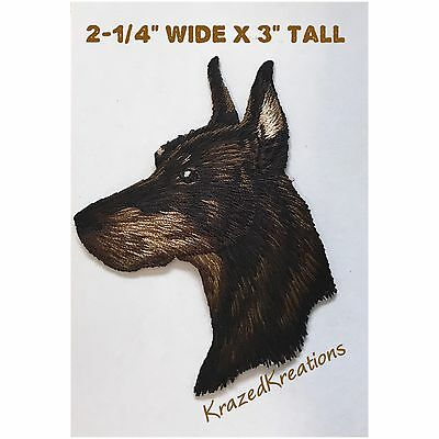 Doberman Pincher (Dobie) Embroidered Iron-On Applique Patch - High Quality!