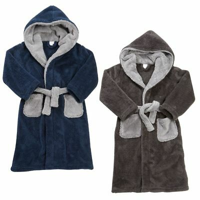 Boys 2 Tone Hooded Dressing Gown Thick Cosy Teenager Hood Xmas Winter Bath Robe