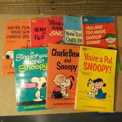 Lot of 8 Charlie Brown Snoopy Books Paperback Novels By A Fawcett Crest Book