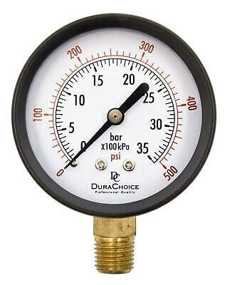 "2-1/2"" Utility Pressure Gauge - Blk.Steel 1/4"" NPT Lower Mnt. 0-500PSI"