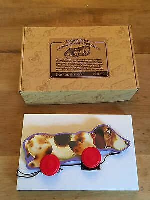 Fisher Price Classic Wooden Pull Toy Doggie Sniffer  #73060 Made in USA 1999 NOS