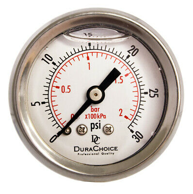 "1-1/2"" Pressure Gauge - Stainless Steel Case, 1/8"" NPT Ctr. Back Mnt 0-30PSI"