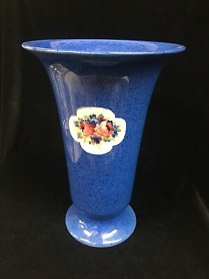 Large Early William Moorcroft Powder Blue Pottery Trumpet Vase With Flowers