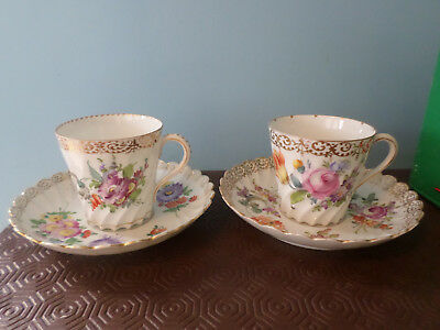 2 x vintage 19th century Dresden bone china coffee / tea cup and saucer -D