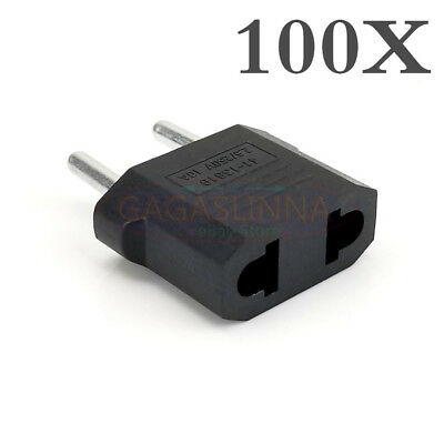 Lot 100X US USA to EU Euro Europe AC Power Plug Converter Travel Adapter Charger