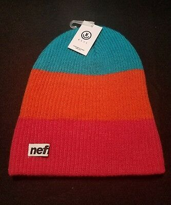 793bdf15932 Neff Unisex Daily Trio Knit Beanie Hat Pink Coral Teal Scully