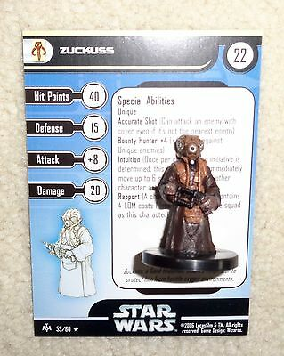 Star Wars Miniatures ZUCKUSS 053 53/60 BOUNTY HUNTERS Wizards of the Coast WOTC
