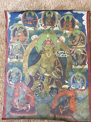"RARE!!! NEPAL!! THANGKA PAINTING ABOUT 75 YEARS OLD.SIZE:27""x20"""
