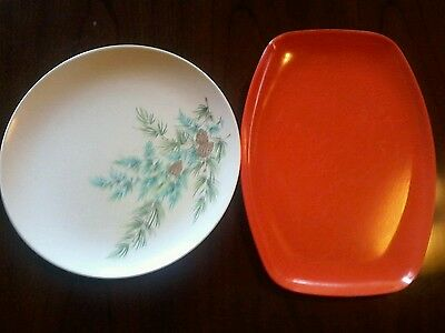 Vintage Melmac Plate and Tray Mid Century Mad Men Era