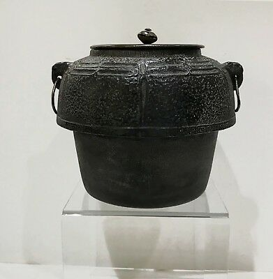 Antique Japanese Cast Iron Tea Ceremony Kettle with Bronze Lid - Signed Ryubundo