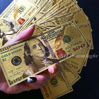 10PCS 24K Gold Foil Dollar New US $100 Banknotes Collections Home Decor Art Gift