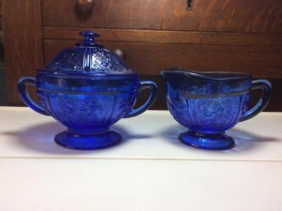 1980s re issued Shannon Cabbage Rose cobalt blue glass Cream and Sugar