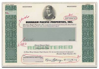Burnham Pacific Properties Inc. RARE American Bank Note Production Portfolio