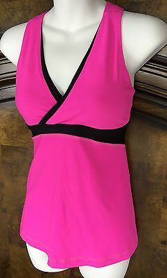 Lululemon Athletica Women's Size 6 Built In Bra Tank Top Yoga Fitness Pink Black