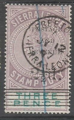 Sierra Leone 1897 Qv Stamp Duty 21/2D On 3D Sg Type 11 Used