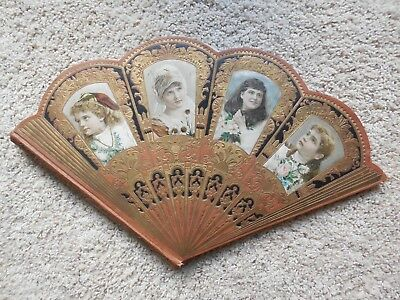 Rare Antique Victorian Girls Fan Shape Scrapbook + Vintage German Die Cuts