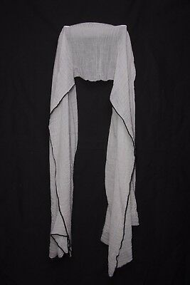 Grey Crinkled Scarf Black Edging Super Soft Large Gentle Touch For Ladies S175C