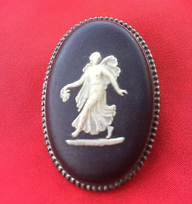 Vintage Wedgwood Made in England Oval Girl Cameo Sterling Silver Pin Marked 61 F