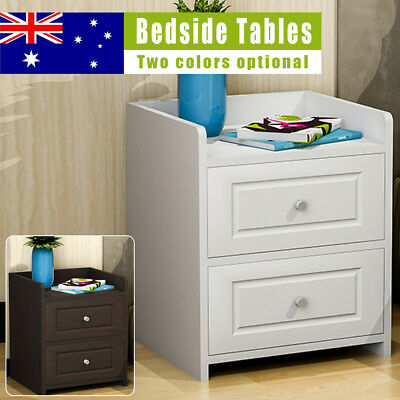 Shabby Wood Bedside Tables 2 Storage Drawers Modern Craft Cabinets Night Stand