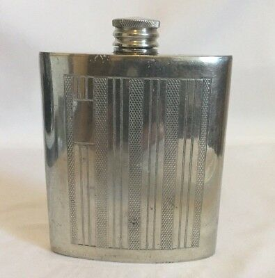 English Pewter JML Made in England 3 Ounce Flask Art Deco