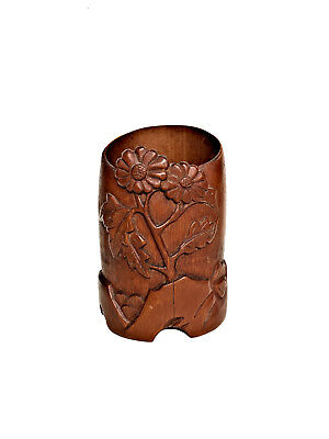 CHINESE BRUSHPOT Bamboo Carved Chrysanthemum Calligraphy Rock Scholars Caddy Pot