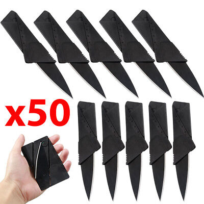 x50 Lot Credit Card Thin Knives Cardsharp Wallet Folding Pocket Micro Knife