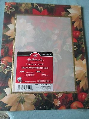 Hallmark Connections 20 ct Computer Paper Invitations Christmas Poinsettias