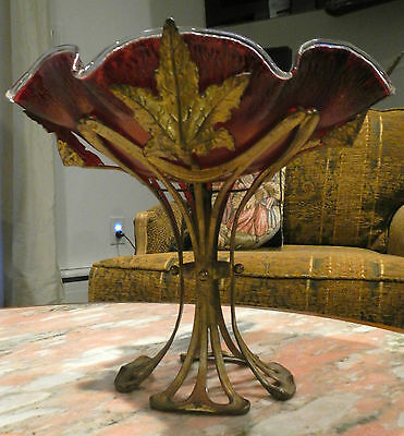 Art Nouveau Art Glass Centerpiece With Applied Leaf Design Ca. 1900-1910 Loetz ?