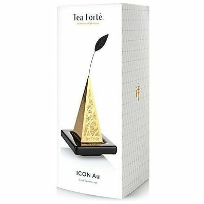 NEW in gift box Tea Forte Icon Au Gold Loose Tea Infuser & Tray