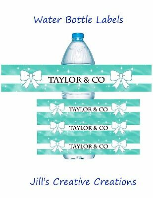 Tiffany Theme water bottle labels, water bottle labels, tiffany's, birthday