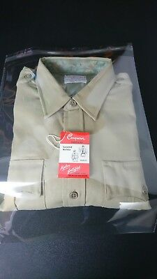 Conqueror Tropical Size 16 Brown Military Shirt Union Made USA Deadstock NEW S1