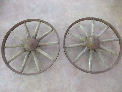"Antique Vintage Pair of 10"" Steel / Wood Spoke Wagon Wheels - Farm Decor"