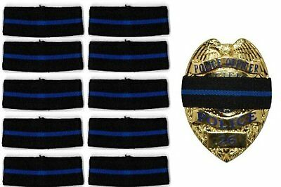 """10-PACK Hero's Pride Thin Blue Line Stripe Mourning Band for Police Badges 3/4"""""""