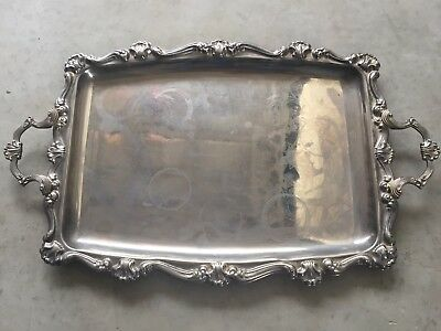 Large Silver Drinks Serving Tray Vintage Scallop Edge Rectangular