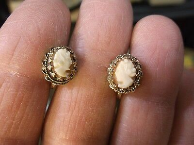 Gorgeous Vtg Antique Ladies Sterling Silver & Yellow Gold Vermeil Cameo Earrings