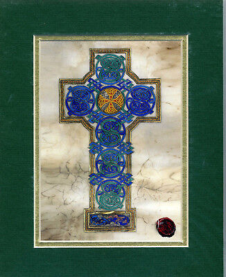 "Celtic Card Company MATTED PRINT 10"" x 8"" Celtic Cross"