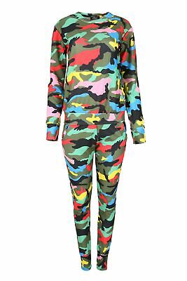 Children Army Print Round Neck Long Sleeve Top Set Kids Knit Jogsuit Lounge Wear