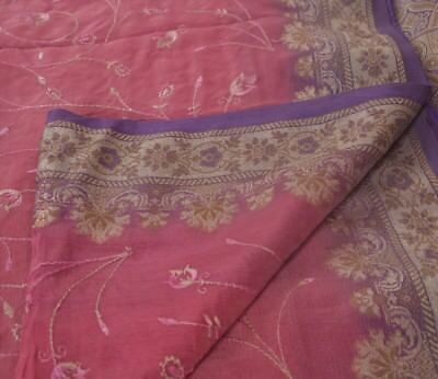 Vintage Indian Saree Silk Blend Embroidered Woven Pink Craft Fabric Ethnic Sari