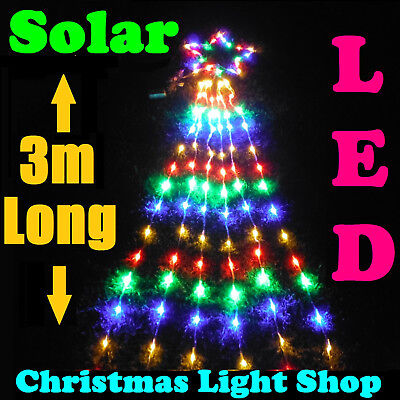 Solar MULTICOLOUR Star Top w 3m Strands Outdoor Christmas Lights 175 LED Curtain